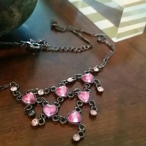 Pink Heart Jewel and Gem Necklace